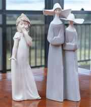 Sale 9005H - Lot 69 - A Lladro figure of a pair of sisters, Height 34cm together with a Nao figure of a girl