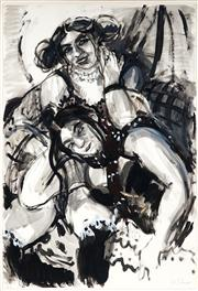 Sale 9013 - Lot 517 - Wendy Sharpe (1960 - ) - Tania & Freya with Checked Couch 111 x 76.5 cm (frame: 121 x 85 x 4 cm)