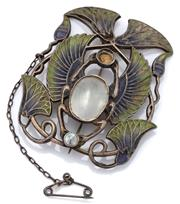 Sale 9090J - Lot 368 - A SILVER GILT ART NOUVEAU PLIQUE A JOUR AND PEARL BROOCH; scarab and lotus flower theme in purple and green enamel set with round an...