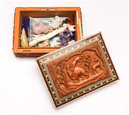 Sale 9107 - Lot 35 - A Carved Elephant Box Containing Several Elephants Incl Ivory and Rose Quartz