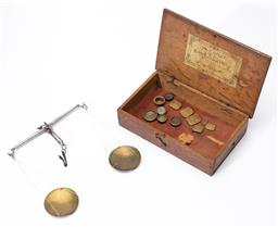 Sale 9130E - Lot 27 - A set of W&T Avery portable gold weighing scales in rustic timber case