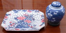 Sale 9190H - Lot 168 - A large Japanese octagonal platter with floral decoration, Width 40cm, together with a Chinese ginger jar, both damaged