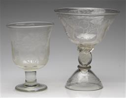 Sale 9211 - Lot 58 - Two H. Hiebl Etched Glass Comports Featuring Sydney 2000 Olympics and Australian Fauna (H:23cm & 19cm)