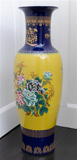 Sale 9248H - Lot 85 - A pair of blue and yellow decorative tall Chinese floor vasesheight 105cm
