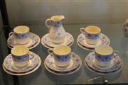 Sale 7953 - Lot 48 - Royal Worcester Blue and White Part Tea Set c.1890, 5 cups, 6 saucers, 6 plates and milk jug (a.f)