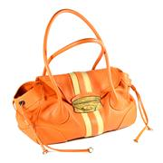 Sale 8060B - Lot 316 - PRADA ORANGE LEATHER BAG; with snake skin clasp and inter tag no. LN 03842, width 44cm