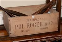 Sale 8171A - Lot 54 - Early French ' Pol Roger ' champagne timber crate, L 55cm