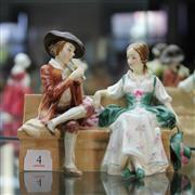 Sale 8236 - Lot 4 - Royal Doulton Figural Group The Rustic Swain HN 1745 (Crack)