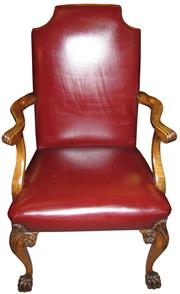 Sale 8258A - Lot 66 - George I style leather upholstered walnut carver chair of exceptional quality circa 1910, well carved and good proportion and colou...