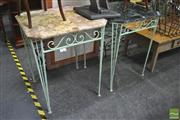 Sale 8299 - Lot 1062 - Pair of Marble Top Occasional Tables with Painted Iron Base