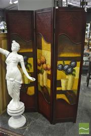 Sale 8338 - Lot 1175 - Hand Painted Three Panel Wall Screen