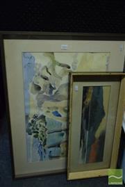 Sale 8530 - Lot 2053 - Group of (3) Original Paintings: Venetia Hill Nude in Thought; K. Steel Town Scene, Artist Unknown Highland Scene (various siz...
