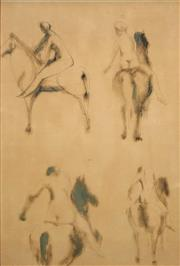 Sale 8652A - Lot 5068 - Attributed to Elisabeth Frink (1930 - 1993) - Studies - Model and Horse 53 x 36cm