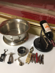 Sale 8677B - Lot 980 - A large ice bucket and wine pourer including various wine related items
