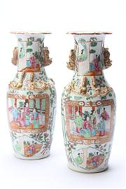 Sale 8670 - Lot 248 - Pair of Early Famille Rose Vases, (Small Chips to Top, H 26cm)