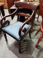 Sale 8714 - Lot 1083 - Early Victorian Mahogany Armchair, with blue drop-in seat & turned legs