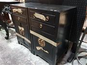 Sale 8740 - Lot 1654 - Pair of Oriental Bedside Chests