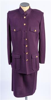 Sale 8926H - Lot 26 - A St. John knitted Collection by Marie Gray coat with gold buttons in eggplant, size 14