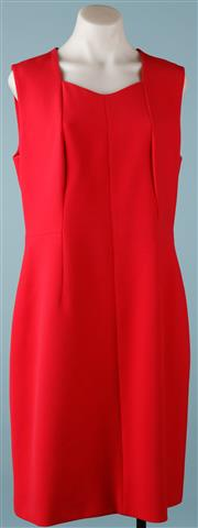 Sale 9090F - Lot 10 - A HUGO BOSS DILUNEA SHEATH DRESS; A-Line panelling, raspberry colour, size UK 14 FR 44.