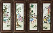Sale 9083N - Lot 40 - A set of four Chinese framed tile panels depicting leisurely pursuits.  Frame size Height 92 x width 37cm