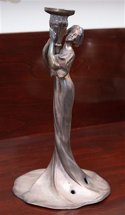 Sale 9190H - Lot 212 - A silvered figural lamp base with wires removed, in the form of an art nouveau maiden, Height 27cm