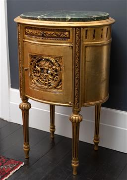 Sale 9248H - Lot 88 - A pair of gilt finished French style bedside cabinets of oval form with marble tops. Height 76 x width 50 x depth 38cm