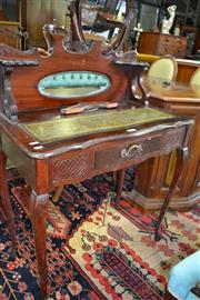 Sale 8093 - Lot 1748 - Small Ladys Desk with Tooled Leather Writing Section & Mirrored Back