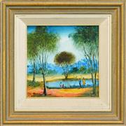 Sale 8266 - Lot 566 - Kevin Charles (Pro) Hart (1928 - 2006) - Camp by the Billabong 28.5 x 28.5cm