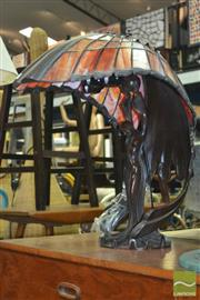 Sale 8338 - Lot 1140 - An Impressive Cast Metal Figural Base Table Lamp with Leadlight Shade