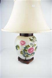 Sale 8381 - Lot 136 - Handpainted Chinese Garden Themed Table Lamp
