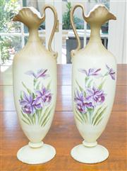 Sale 8402H - Lot 60 - A pair of Victorian porcelain ewers, with painted purple iris decoration. Height 53cm.