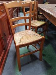 Sale 8672 - Lot 1043 - Set of Six Timber Chairs with Rush Seat
