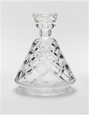 Sale 8770A - Lot 89 - A quality Art Deco hand cut lead crystal Ships decanter Ht: 19cm