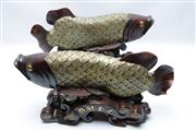 Sale 8869C - Lot 656 - A Pair of Timber Figural Koi Fish (L 52cm)