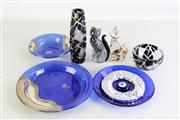 Sale 8948 - Lot 85 - Blue glass dish with 925 silver application together with other glass wares incl. cat figures and a evil eye example