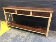 Sale 9017 - Lot 1013 - Rustic 3 Drawer Hall Table (h:85 w:170 x d:45cm)
