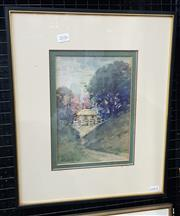 Sale 9036 - Lot 2036 - J.S Watkins Cottage in Spring watercolour, frame: 44 x 37 cm, signed lower left -