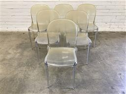 Sale 9134 - Lot 1528 - Set of 6 moulded plastic dining chairs (h:83 x w:39 x d:55cm)