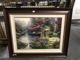 Sale 9147 - Lot 2043 - THOMAS KINKADE The Garden of Prayer, offset lithograph on canvas, ed. 256/999, frame: 69 x 84 cm, facsimile signed, certificate ve...
