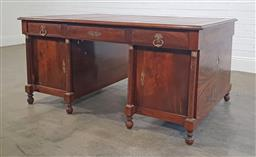 Sale 9215 - Lot 1032 - French Empire Style Pedestal Partners Desk, with tooled red leather inserts, fitted with drawers & doors to both sides, flanked by...