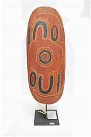 Sale 8048A - Lot 82 - ARTIST UNKNOWN 20th Century, Central Desert - A Central Desert Painted Coolamon of broad ovoid form decorated with ceremonial design...