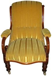 Sale 8258A - Lot 68 - Victorian mahogany gentleman's chair in gold dralon fabric (clean), RRP $1450