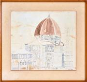 Sale 8332A - Lot 100 - Cederic Emanuel Flower (1920 - 2000) - Florence Cathedral 35.5 x 39.5cm