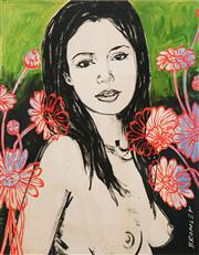 Sale 8624A - Lot 5043 - David Bromley (1960 - ) - Mallory with Flowers 77 x 55cm