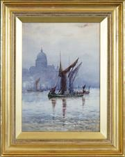 Sale 8443 - Lot 504 - Rose Champion de Crespigny (1860 - 1935) - Barges on the Thames Before St Pauls 35.5 x 25.5cm