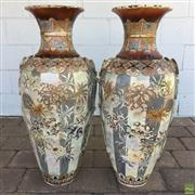 Sale 8649R - Lot 149 - Pair of Impressive Japanese C19th  Handpainted Vases with Floral Motif and Rope Design (H: 80cm)