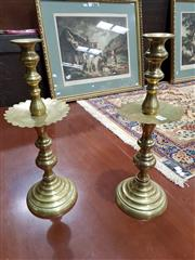 Sale 8714 - Lot 1088 - Pair of Turned Brass Candlesticks, with large drip trays