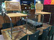 Sale 8782 - Lot 1307 - Pair of Cantilever Bar Stools with Rattan Back & Seat