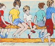 Sale 8955A - Lot 5003 - David Bromley (1960 - ) - Children on Fence 21 x 25 cm (frame: 34 x 43 x 2 cm)