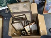 Sale 9008 - Lot 2038 - Box of Assorted Artworks incl an Early French Framed Map of Australia & New Zealand